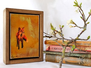 "Image of Original Framed Canvas - 4"" x 6"" - Fox#1"