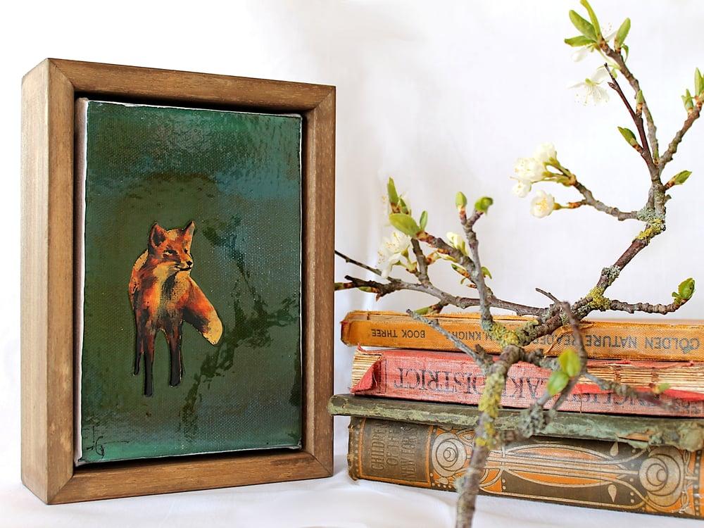 "Image of Original Framed Canvas - 4"" x 6"" - Fox#2"