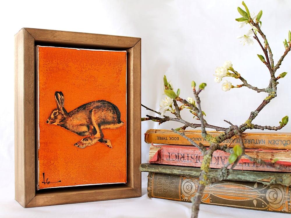 "Image of Original Framed Canvas - 4"" x 6"" - Hare#2"