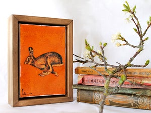 "Image of Original Framed Canvas - 4"" x 6"" - Hare#2"