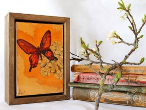 "Image of Original Framed Canvas - 4"" x 6"" - Butterfly"