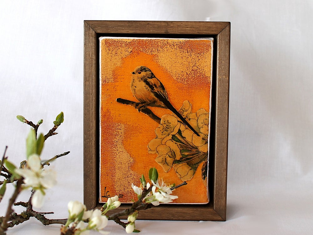 "Image of Original Framed Canvas - 4"" x 6"" - Long Tailed Tit"