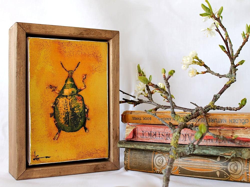 """Image of Original Framed Canvas - 4"""" x 6"""" - Beetle#2"""