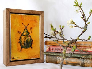 "Image of Original Framed Canvas - 4"" x 6"" - Beetle#2"