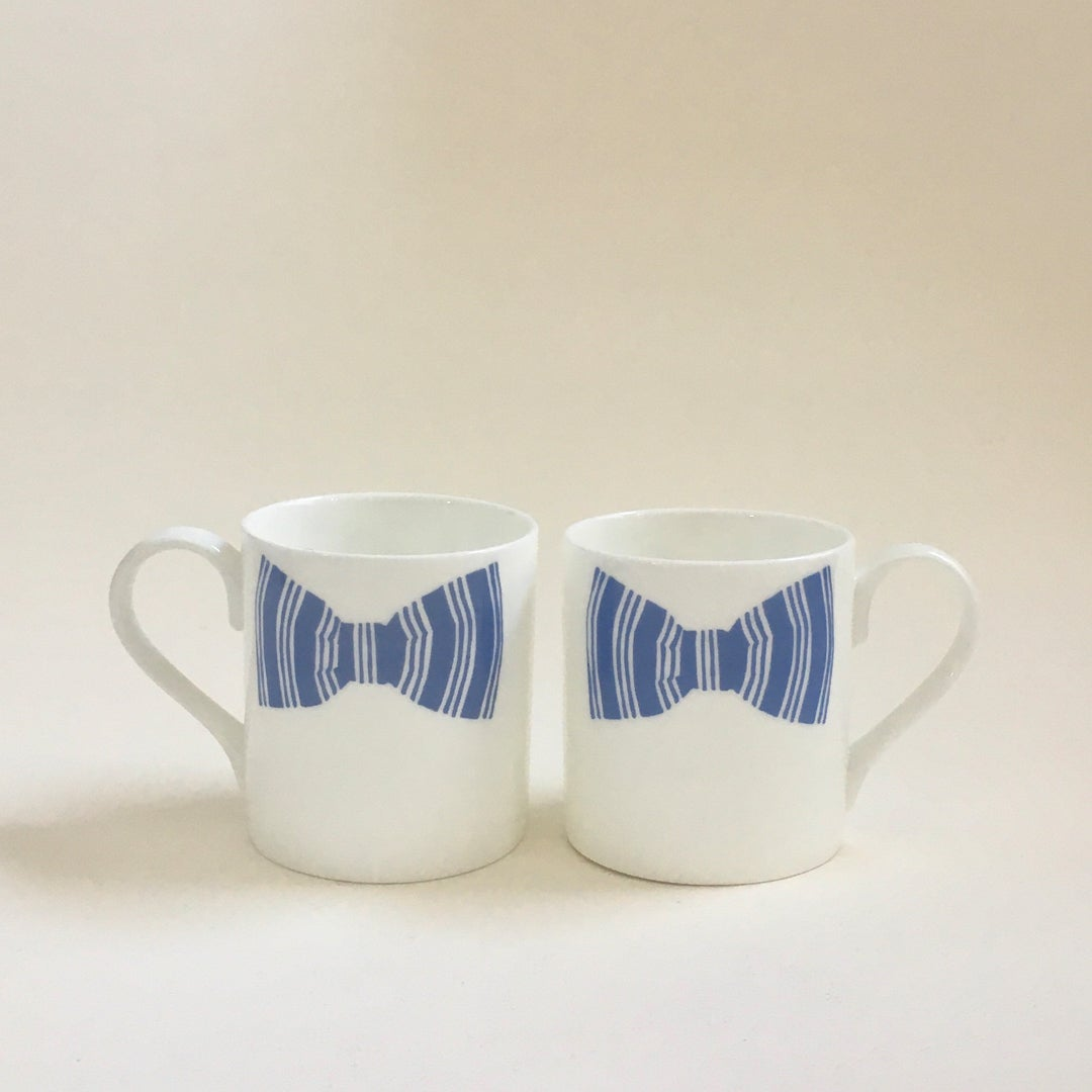 Image of Sibling Blue Bow Tie Mugs - Set of 2
