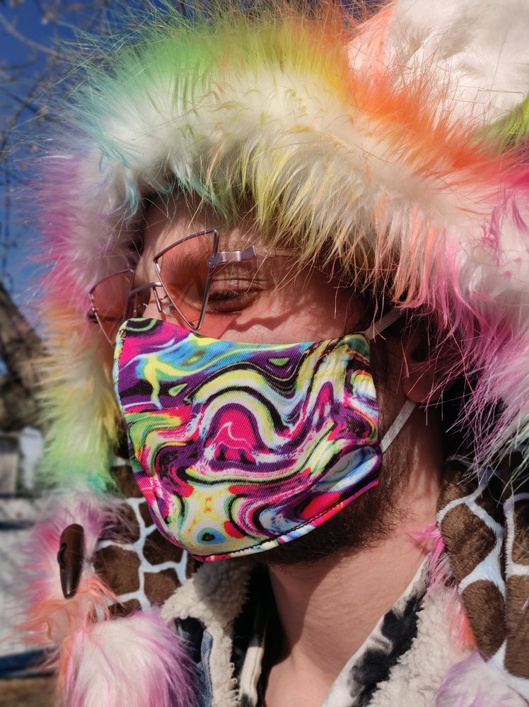 Image of Pastel Trip Locally Made Cotton/Spandex Mask