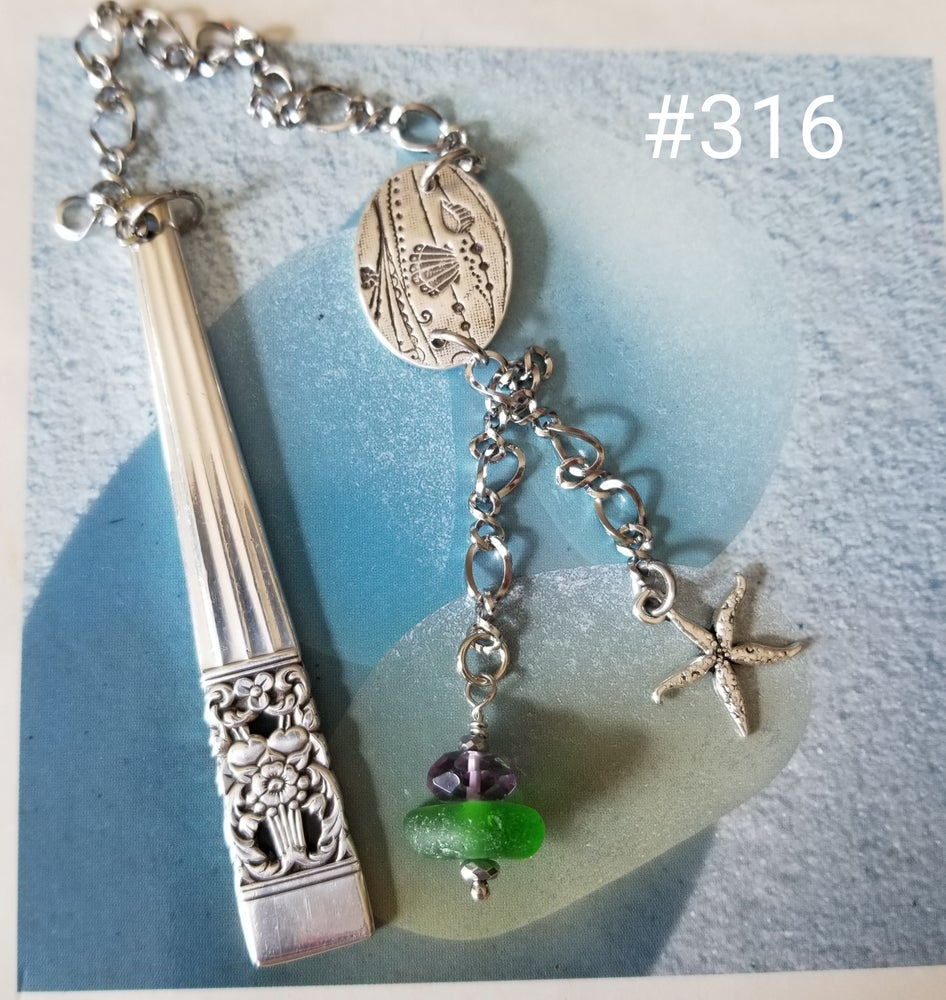 Image of Sea Glass- 999 Fine Silver- Vintage Flatware- Bookmark- #316