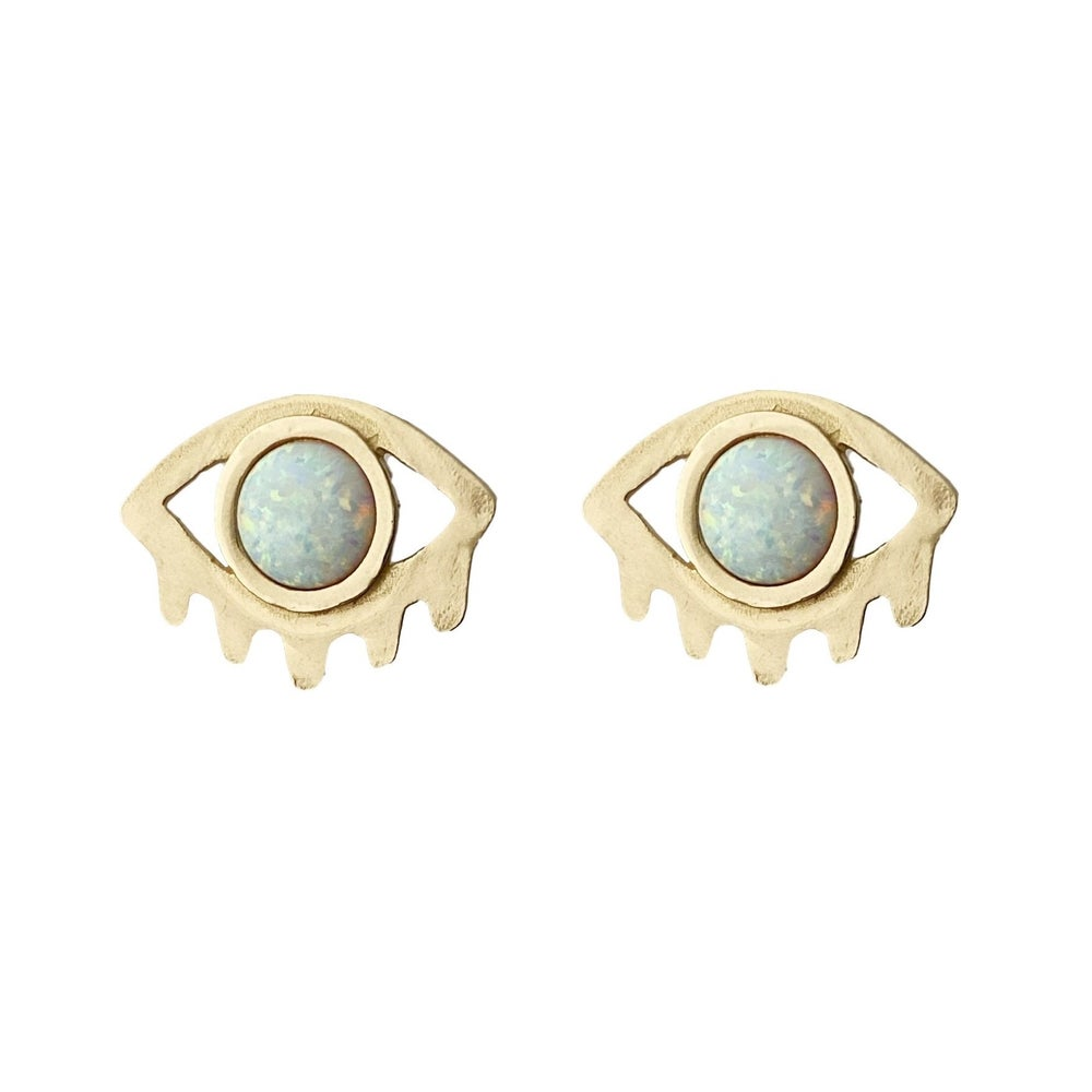 Image of Large Eye with Lashes Statement Earrings with Opal
