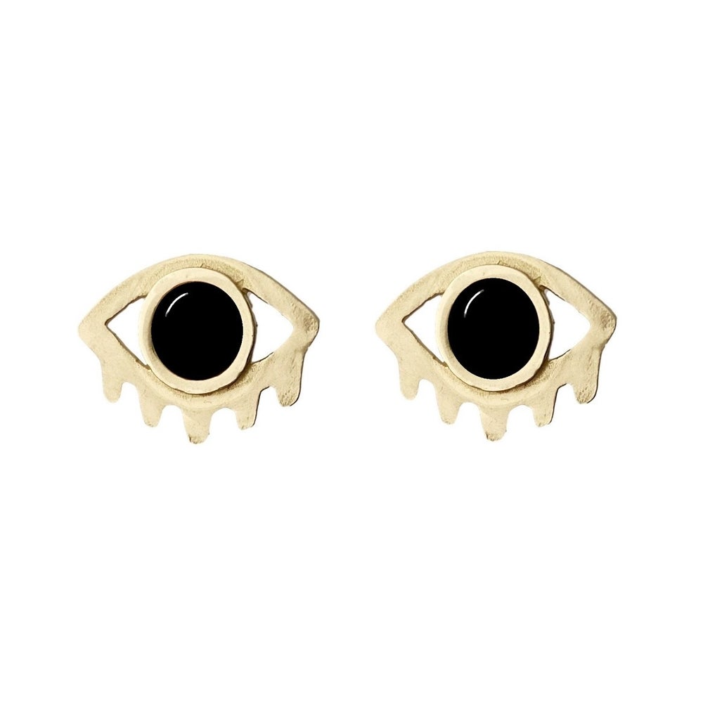 Image of Large Eye with Lashes Statement Earrings with Black Onyx