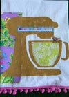Flour Sack Tea Towel, Mustard Mixer Stencil with Bright Lilac Floral Fabric.