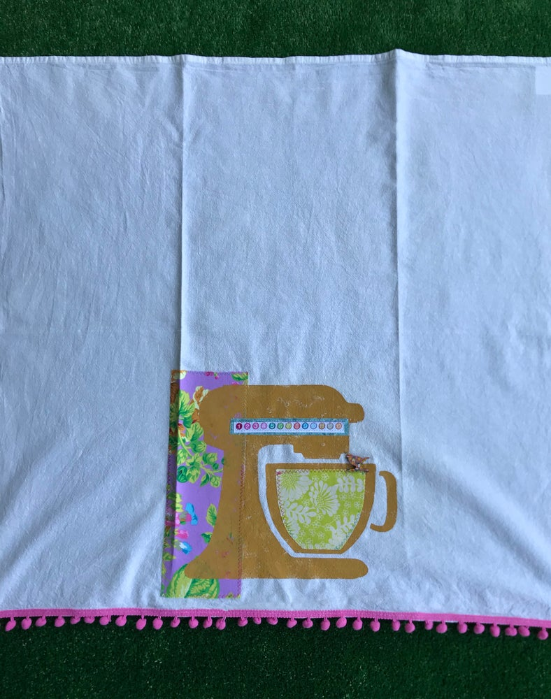 Image of Flour Sack Tea Towel, Mustard Mixer Stencil with Bright Lilac Floral Fabric.