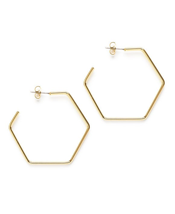 "Image of Amano Gold Hexagon 1.5"" Hoops"