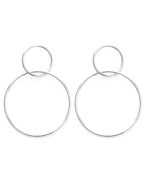 Image of Amano Silver Double Ring Hoop Earrings