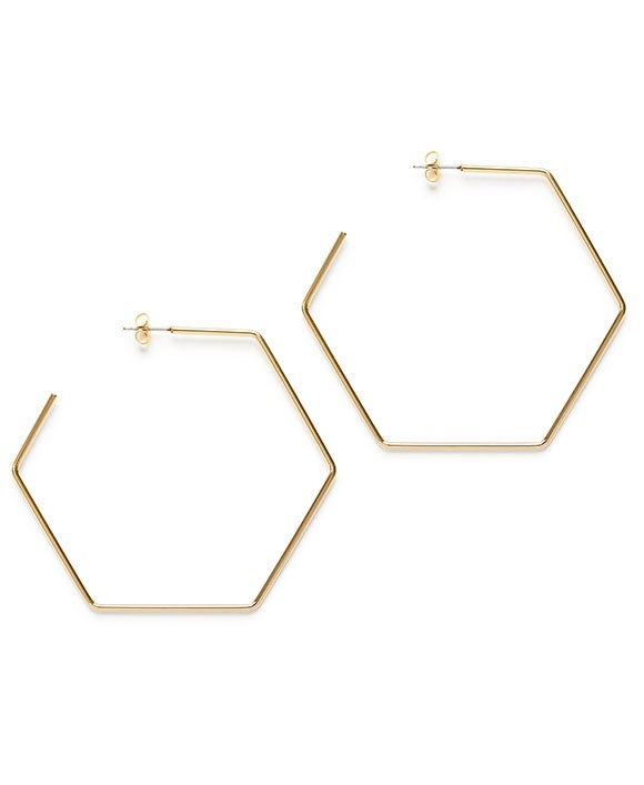 "Image of Amano Gold Hexagon 2.5"" Hoops"