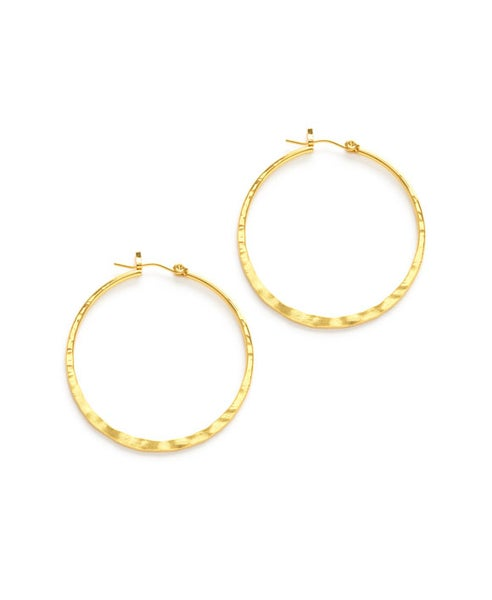 "Image of Amano Hammered Gold 1.5"" Hoop Earrings"