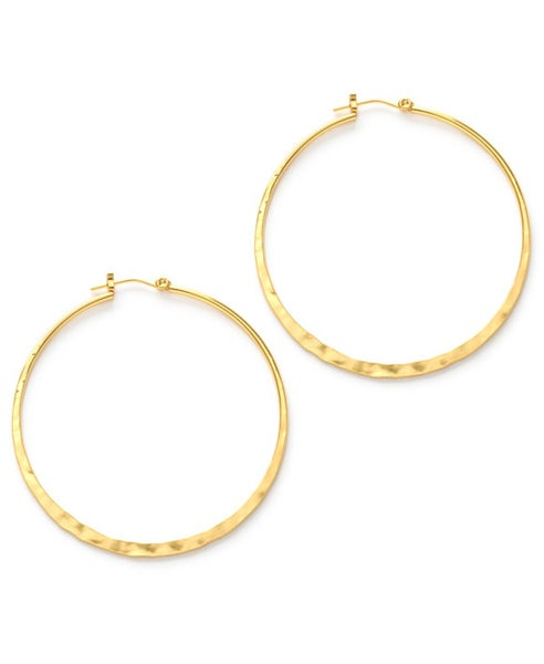 "Image of Amano Hammered Gold 2"" Hoop Earrings"
