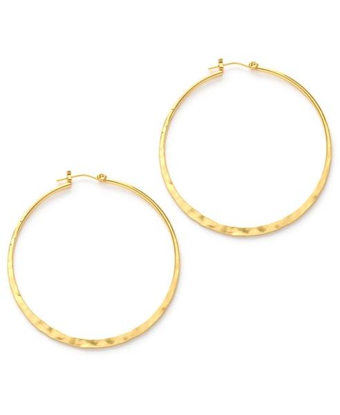 "Image of Amano Hammered Gold 2"" Hoop Earrings"