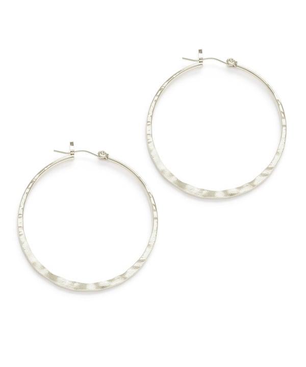 """Image of Amano Hammered Silver 1.5"""" Hoop Earrings"""