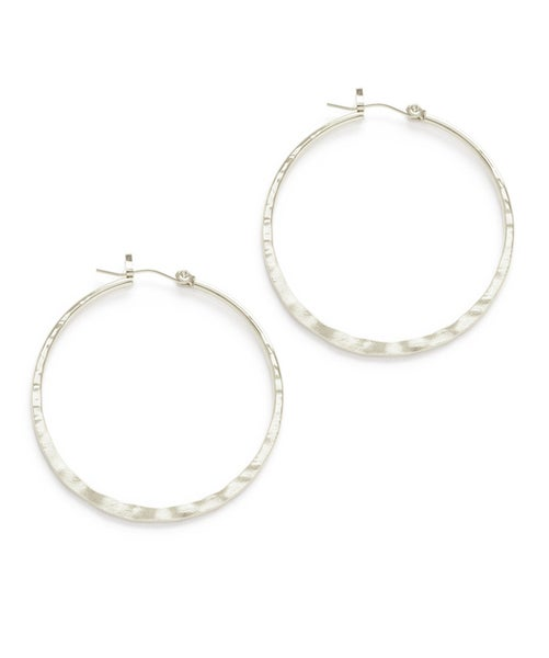 "Image of Amano Hammered Silver 1.5"" Hoop Earrings"
