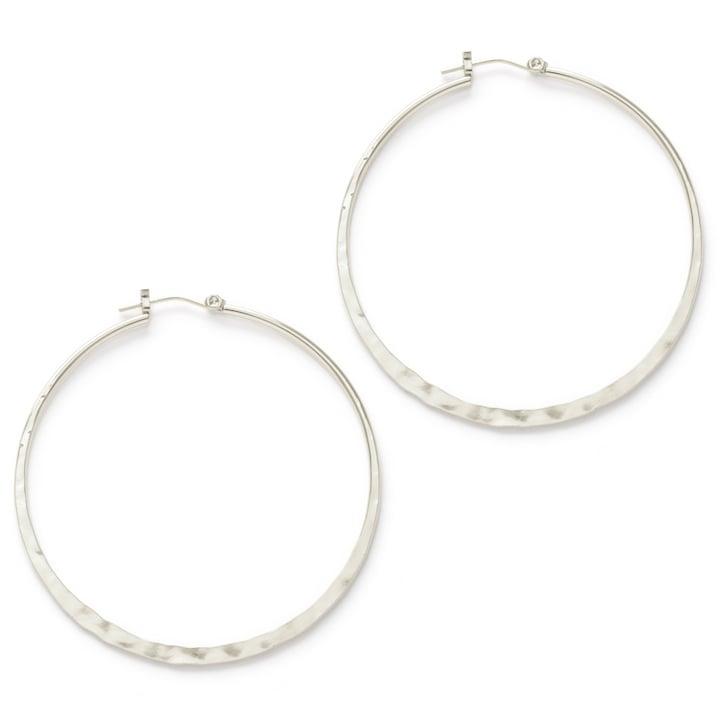 """Image of Amano Hammered Silver 2"""" Hoop Earrings"""