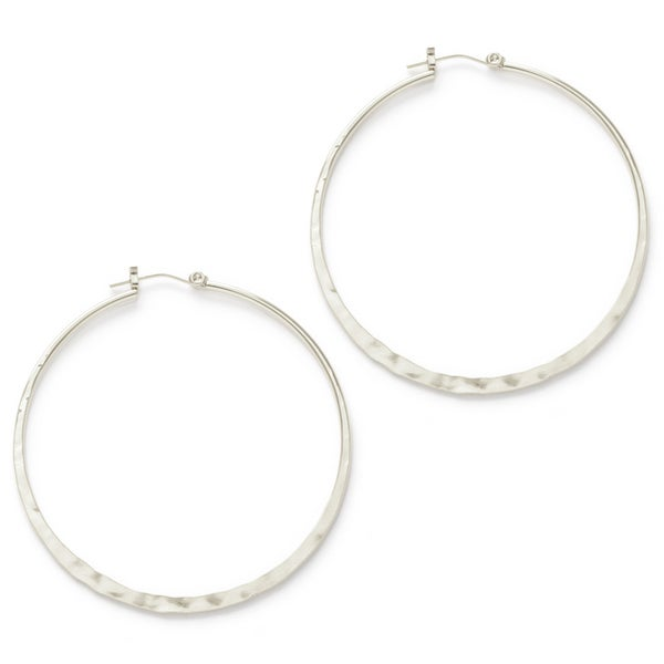 "Image of Amano Hammered Silver 2"" Hoop Earrings"