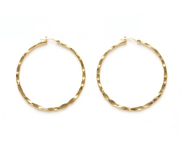 "Image of Amano Hammered Gold 1.5"" Thick Hoop Earrings"