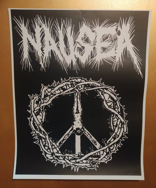 Image of Nausea crucified peace sign poster 22x28