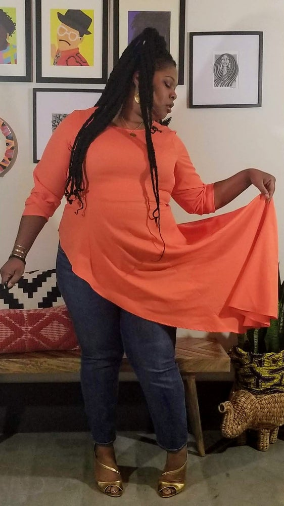 Image of Asymmetric Long Sleeve Maxi Top in Orange Women's Plus Size 20