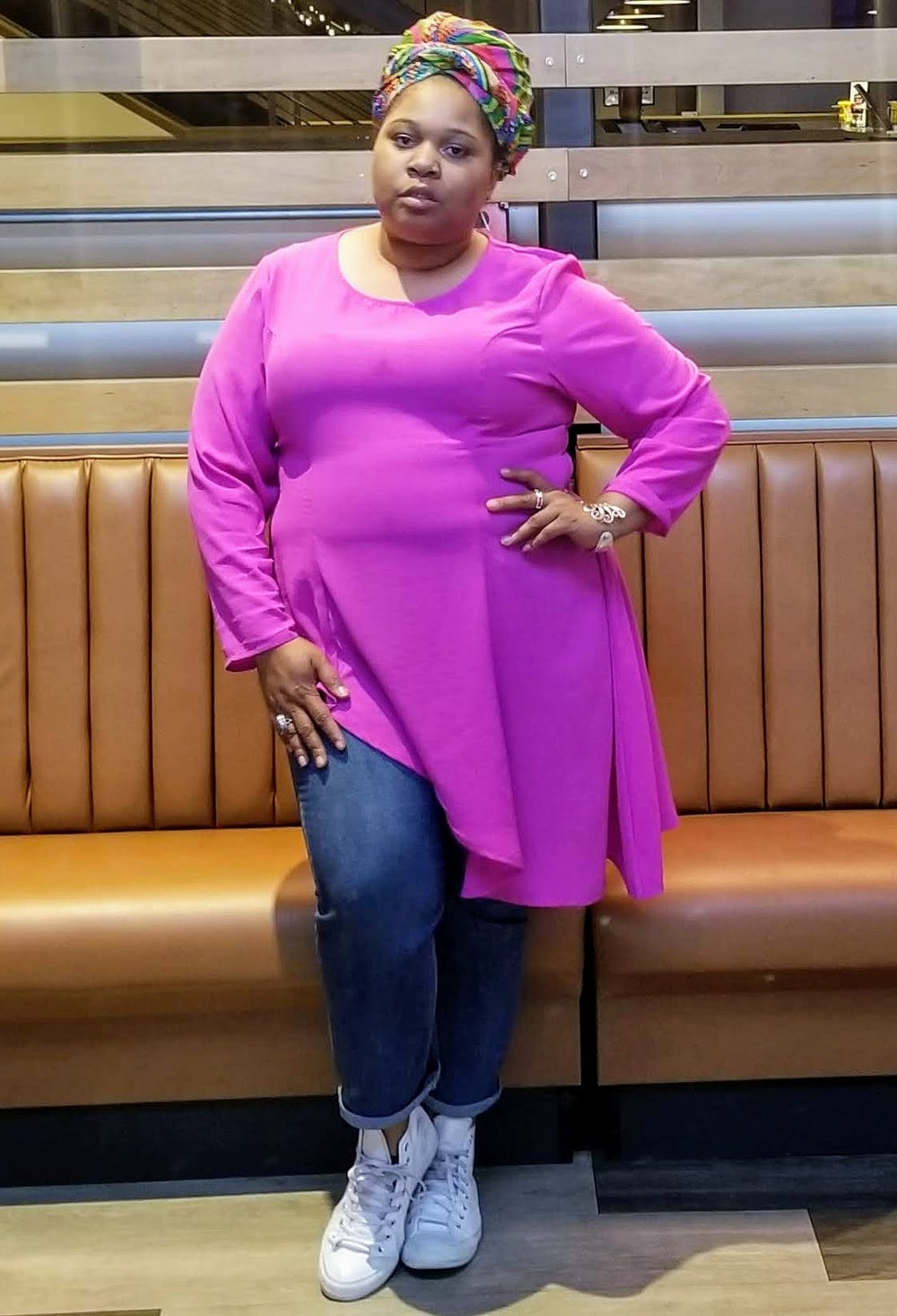 Image of Asymmetric Long Sleeve Top in Lilac/Pink Women's Plus Size 20