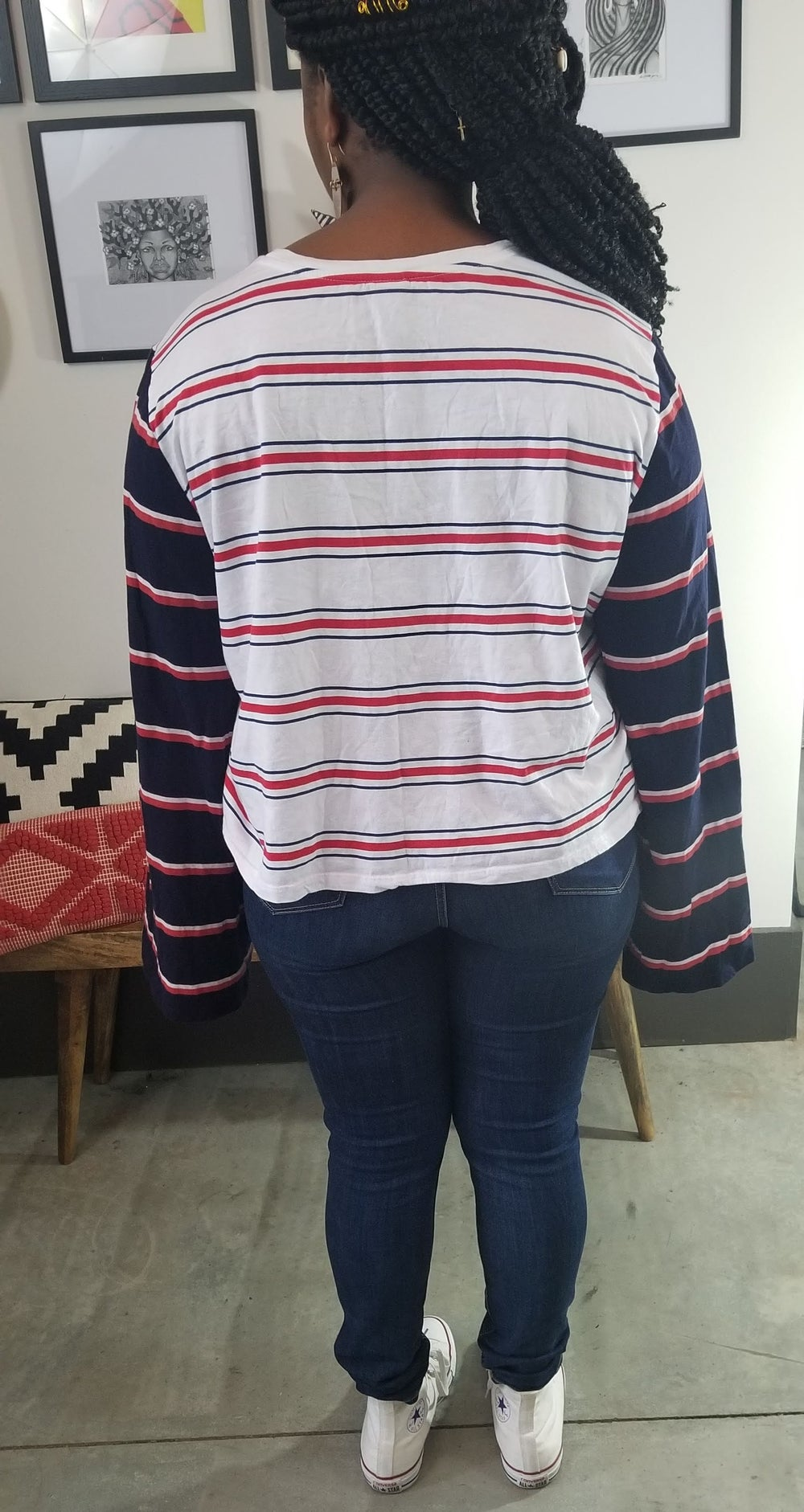 Image of ASOS Curve Splice Stripe Long Sleeve Top Women's Plus Size 20