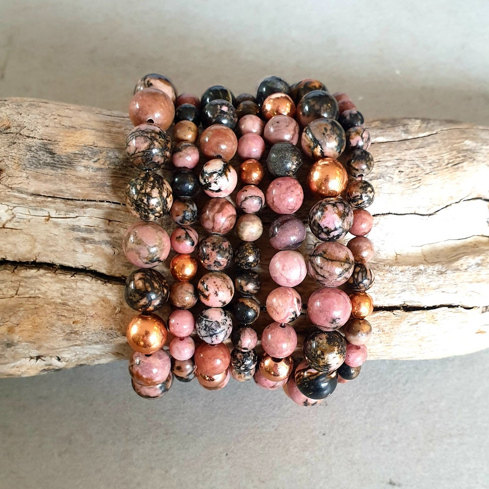 Image of RHODONITE & COPPER - 6mm, 8mm & 10mm bead sizes