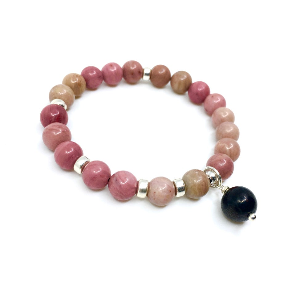 Image of New!  Rhodonite Wrist Mala