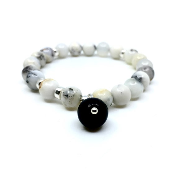 Image of New! Dendrite White Opal Wrist Mala