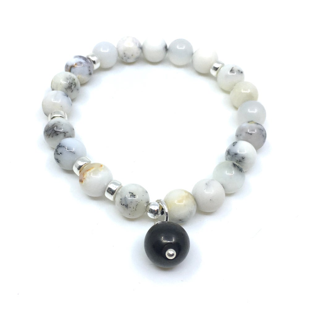 Image of New! Dendrite White Opal Wrist Mala