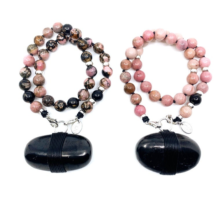 Image of Choker 33 Rhodonite with Shungite