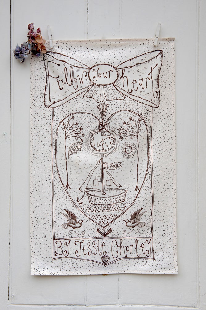 Image of 'Follow Your Heart' tea towel