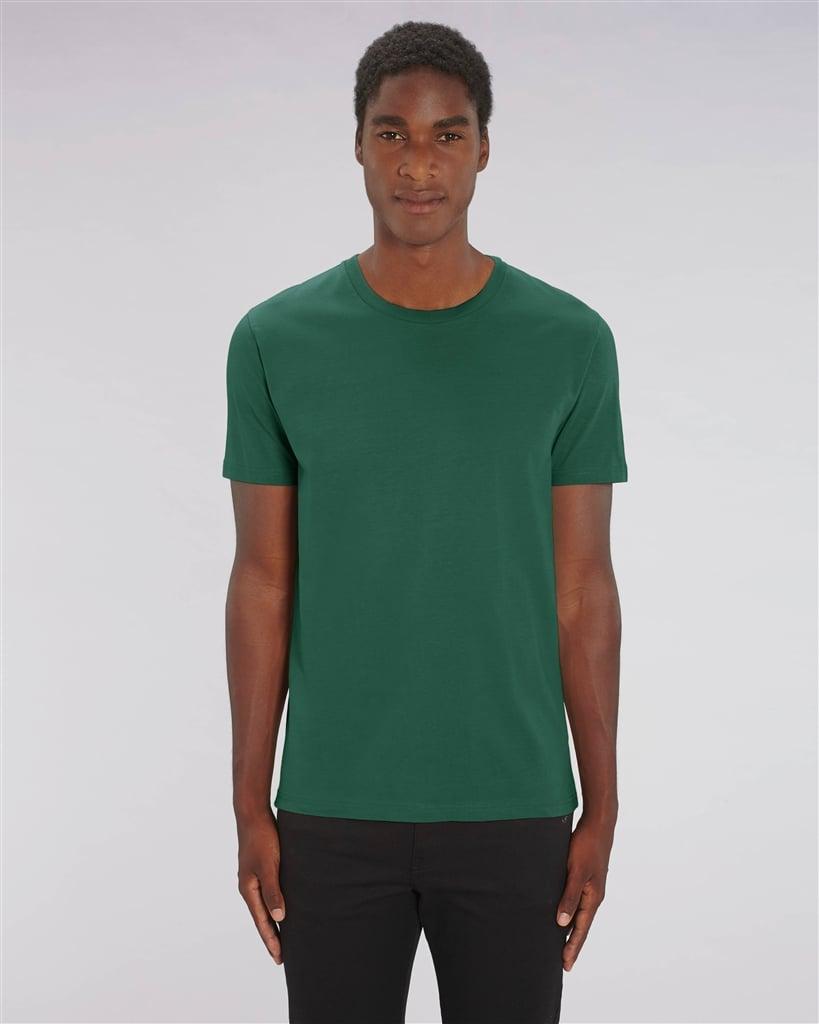 Image of STHIRA SUKHAM ASANAM – beige/pink/cream – bottle green unisex t-shirt