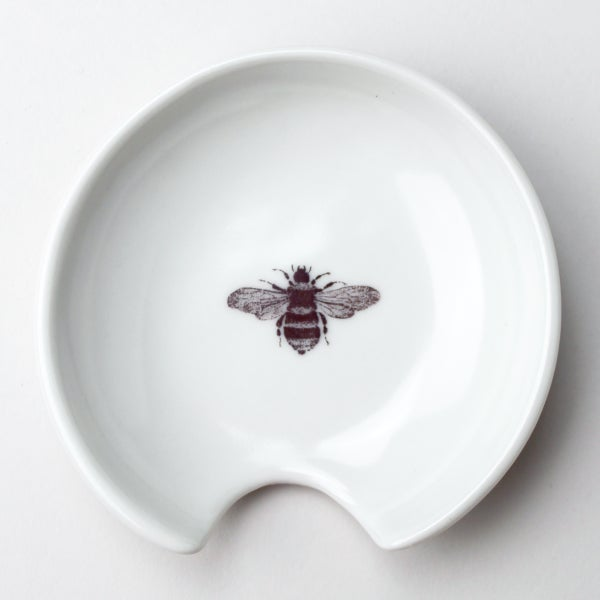 Image of spoon holder, with bumblebee, ivory