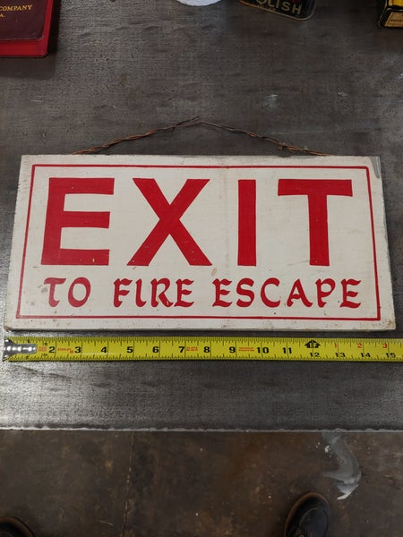 Image of Hand painted wood exit to fire escape sign