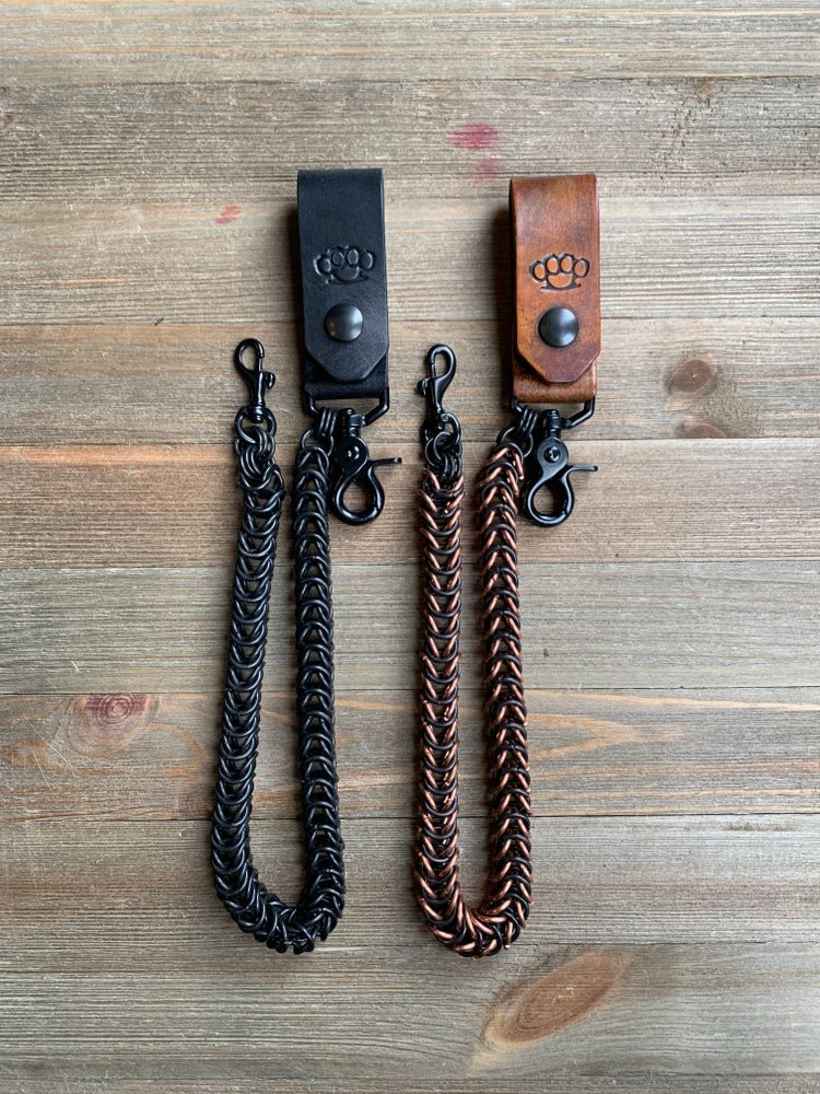 Image of Box Weave Wallet Chain with Leather Key Fob