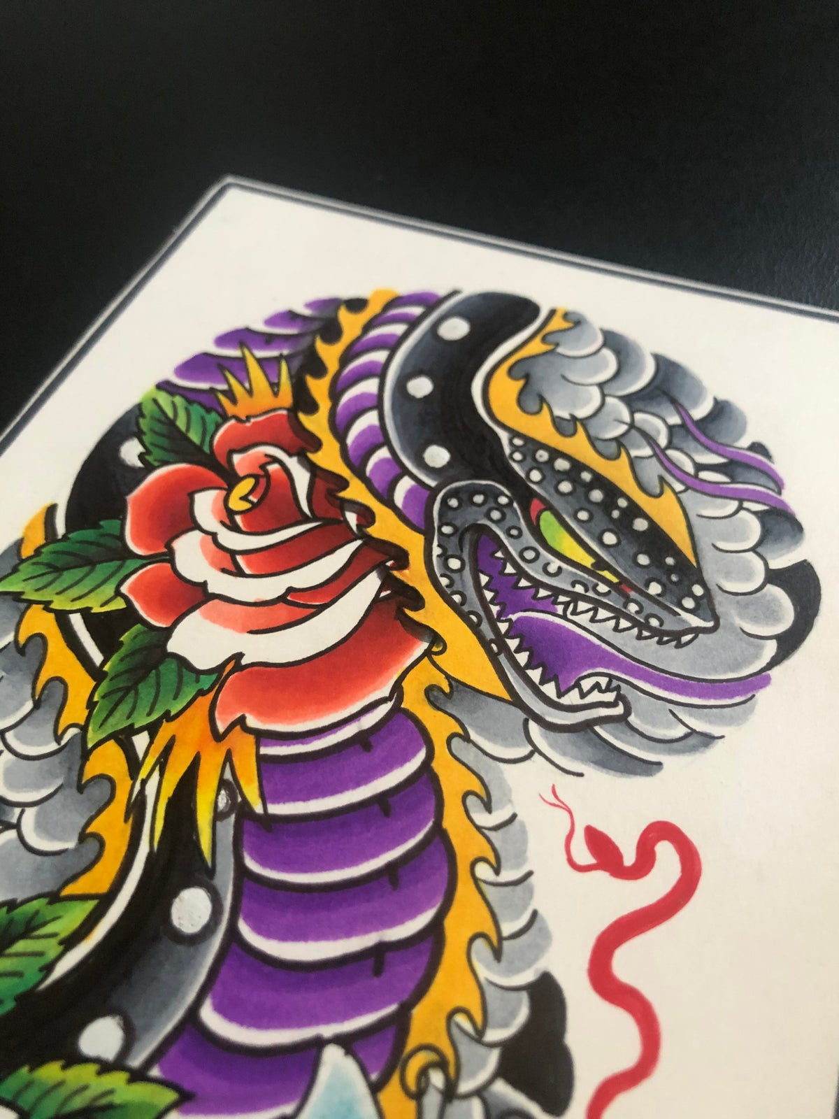Snake and Roses Half Sleeve
