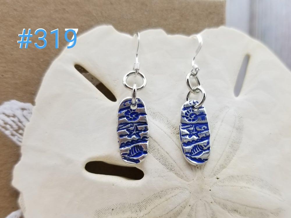 Image of 999 Fine Silver- Handmade- Shell Pattern- Earrings- #319