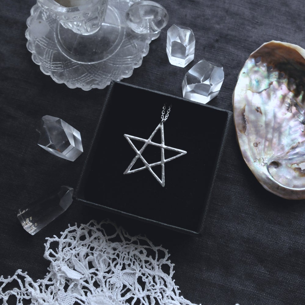 Image of SABBAT II. PENTAGRAM TALISMAN ↟ sterling silver - protection, nature, air water fire earth & ether