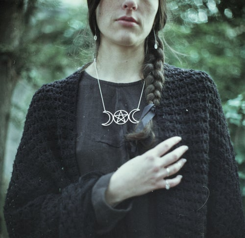 Image of ESBAT. TRIPLE MOON & PENTACLE TALISMAN ↟ sterling silver - evolution, psychic abilities, mystery