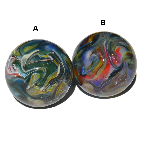 Image of Pair Of Surface Worked Hider Marbles