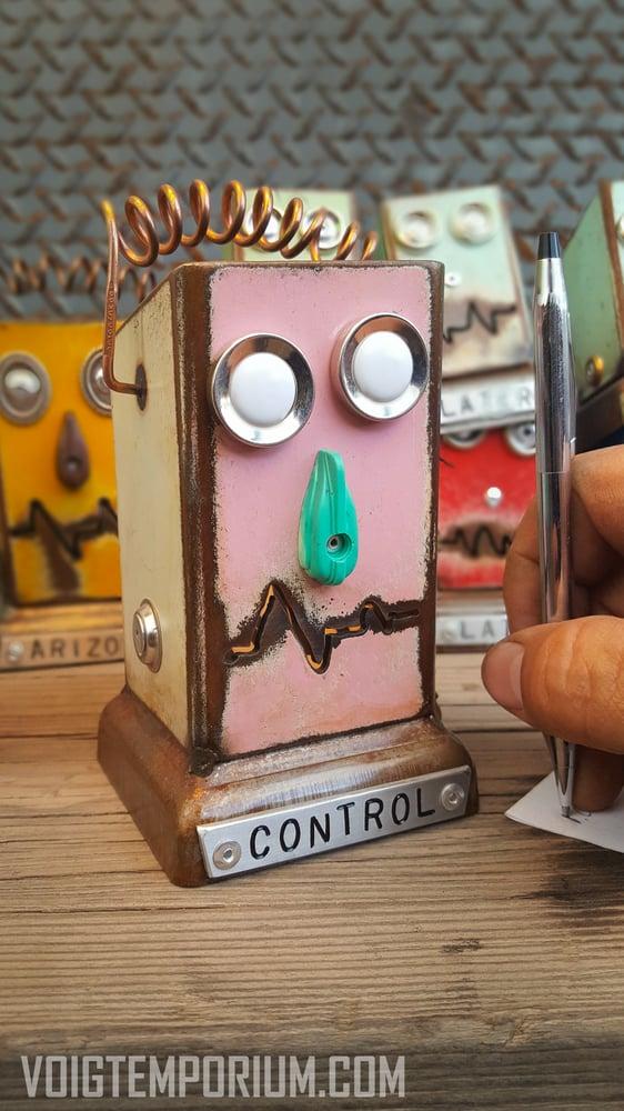 Image of Pink Metal Robot Desk Orginizer: Large Control Pencil Pusher