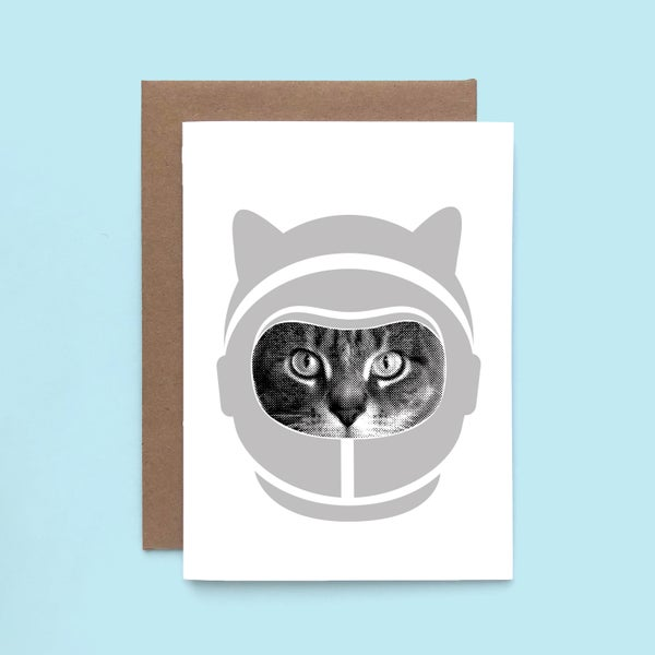 Image of gee whiskers series: space cat card - astro cat - astronaut kitty
