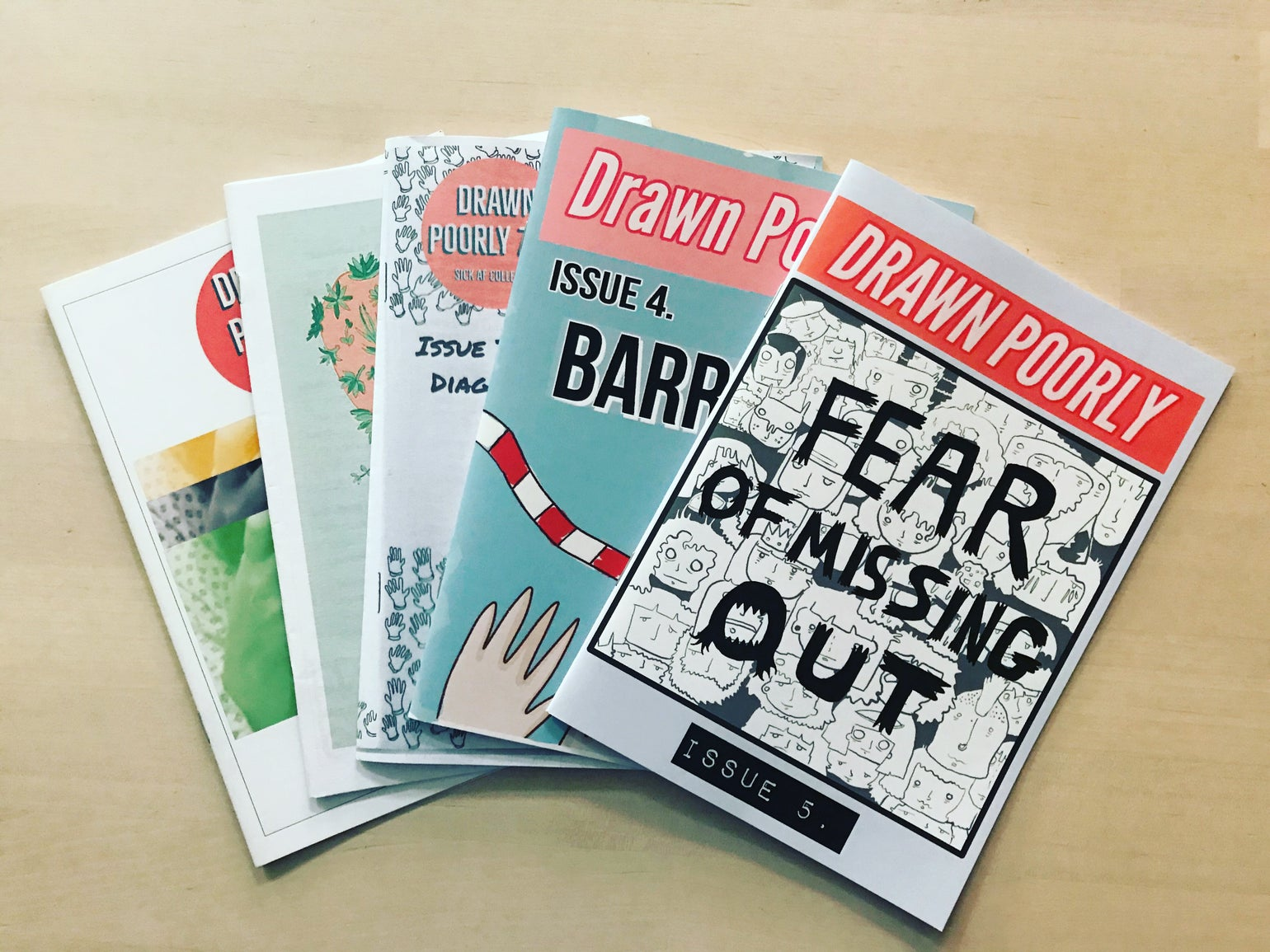 Image of Drawn Poorly Zine issues 1-5