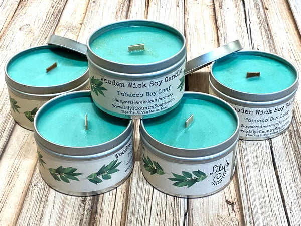 Image of Small Tin Wooden Wick Soy Candle