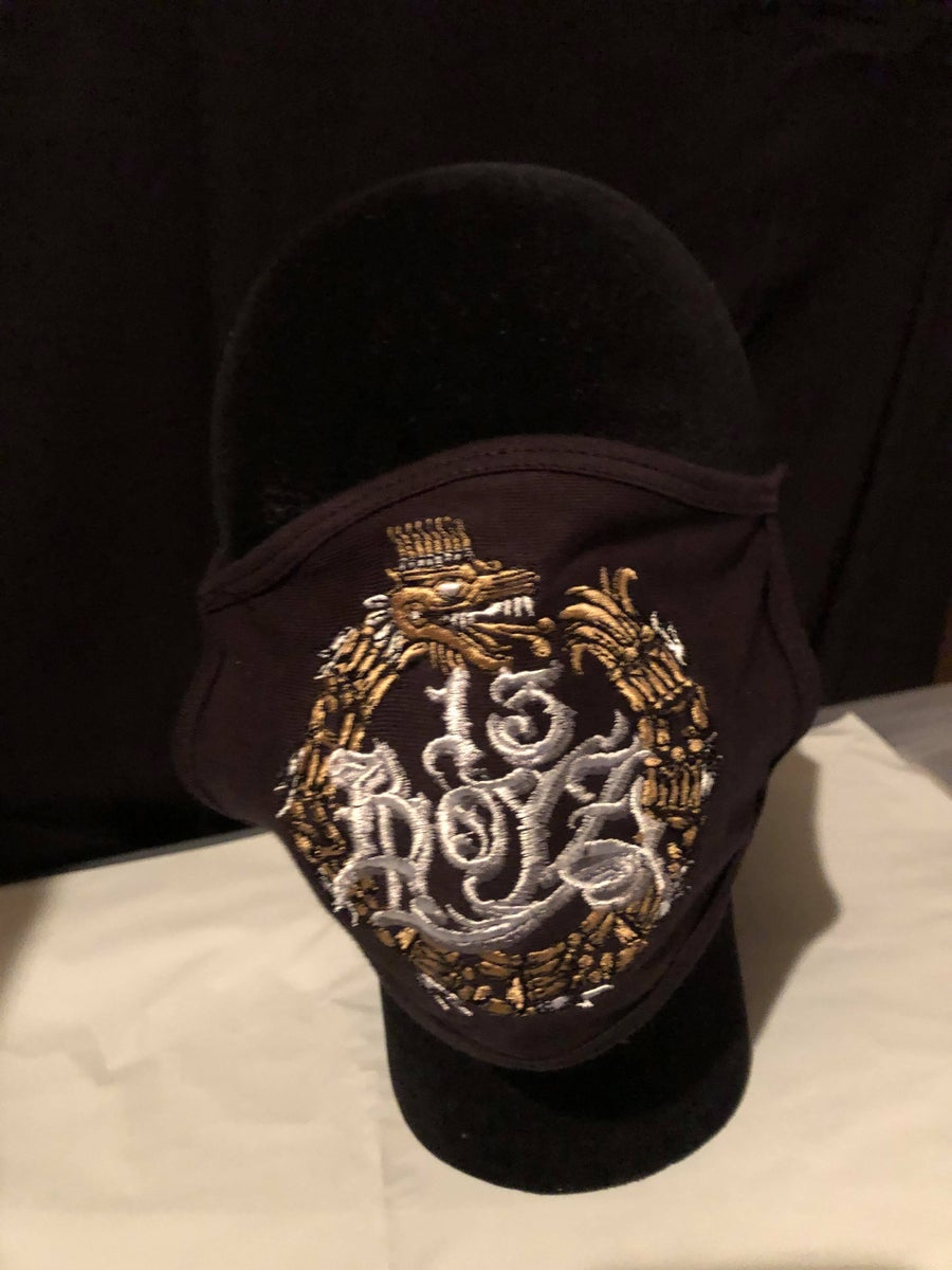 Image of 13 BOYZ LOGO EMBROIDERED FACE MASK- BLACK (LIL DEE'S GEAR)